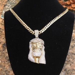 Other - Jesus face pendant 14k plated